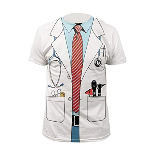 XMDNYE Gefälschte Zwei Stücke 3D T-Shirt Druck Cosplay Kostüm Doktor Lustige T-Shirt Sommer Kurzarm Tops Unisex - Lustige Doktor Kostüm