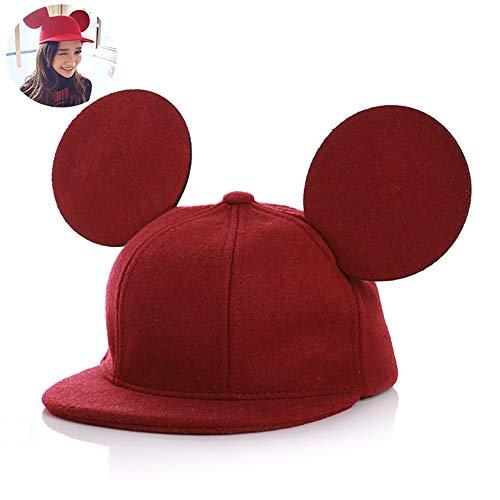 Adorable niños ratón 3D sombrero del oído sombrero de lana casquillo de los cabritos para Niños Niñas Primavera Otoño Invierno 1pc - Rojo
