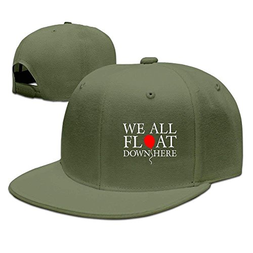 fboylovefor Adjustable Baseball Caps Flat Brim Hat Unisex/Men/Women - We All Float Down Here Forestgreen