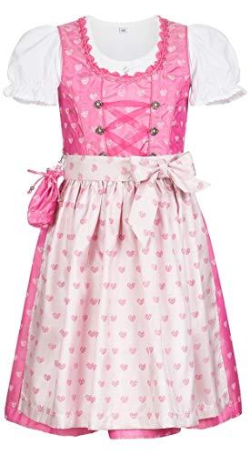 derdirndl 3-TLG, Nebra Pink, Gr. 128, Glänzender Stoff mit Herzchen, Glitzersteine, Glanzschürze, inkl. Bluse ()