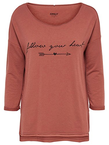 ONLY - Femme loose fit sweatshirt clara 3/4 print box Brique