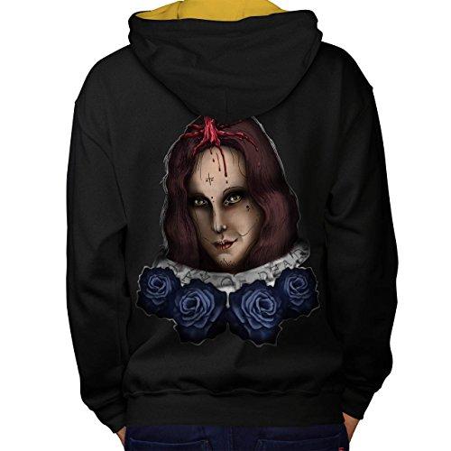 Mädchen Halloween Horror Gesicht Blume Men M Kontrast Kapuzenpullover Zurück | - Halloween-gesicht Ripper Geist Clown
