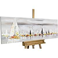 Dipinto in acrilico KunstLoft® 'Per i sette mar' in 150x50cm | Tele originali manufatte XXL | Barche a vela mare con vele e imbarcazioni | Quadro da parete dipinto in acrilico arte moderna in un pezzo