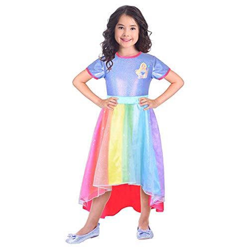 (Amscan 9904435 Kinderkostüm Barbie Regenbogenbucht Mädchen Mehrfarbig 134 cm)