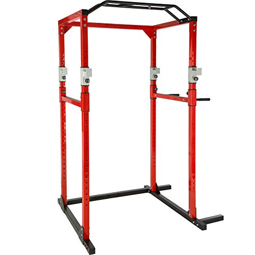 TecTake Kraftstation Fitnessstation Power Rack Power Cage | Klimmzug-Doppelstange | Robuster Rahmen aus Stahlrohr Modelle (Rot Schwarz | Nr. 402739)
