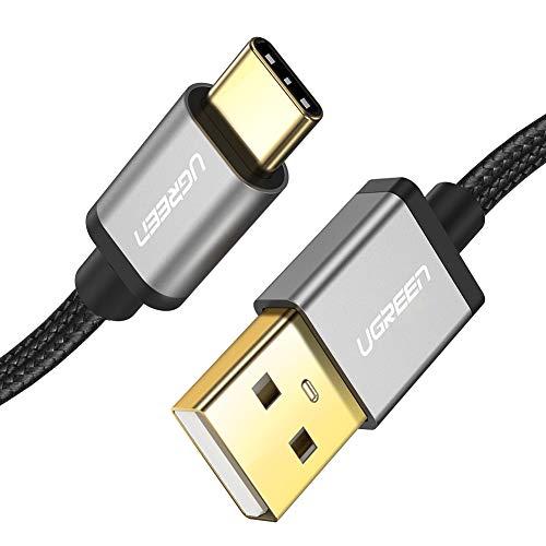 UGREEN Cavo USB C Cavo Ricarica Rapida QC 3.0 Cavo Type C USB Tipo C in Nylon per Samsung A50 M20 S9 S8 Plus A8 2018 Huawei P20 Lite P9 Xiaomi Note 7 Mi A2 Mi A1 Mi 8 Lite Sony Xperia XZ1 ECC. (1M)