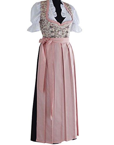 3tlg. Dirndl Damen Kleid RT-361, Rosa, Gr. 50