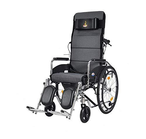 IF.HLMF Tragbarer Rollstühle, 23 kg, mit Rückenlehne 100 kg, Traglast 47 45 cm, Abnehmbarer Schreibtisch-Kommode, für ältere Menschen geeignet, Schwarz -