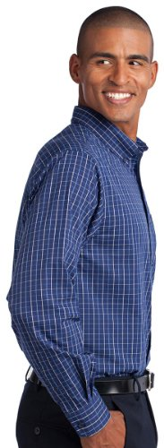Port Authority Men 's Hoch Tattersall Easy Care Shirt Blue/ Navy