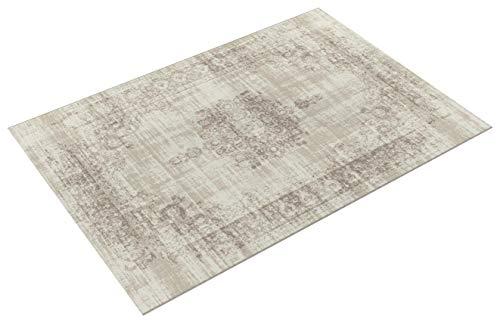 LIFA LIVING 160 x 230 cm Vintage Teppich für Wohnzimmer und Schlafzimmer, Wohnzimmerteppich mit Muster Orientalisch, Creme Beige, aus weicher Wolle