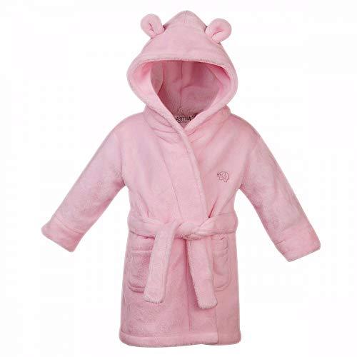 Baby Jungen & Mädchen Unisex Bademantel (Altersstufen 6-24 Monate) Weiches Plüsch Flanell Fleece mit Kapuze Bademantel - Rosa, 86-92 (18 Monat-mädchen-kleider)