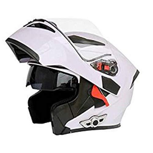 Casco Casco moto Bluetooth Smart multifunzione / MP3 musica/Risposta automatica/D.O.T Certified Mirror Anteriore anti-Flip Flip Casco integrale (bianco) (Size : XXL)