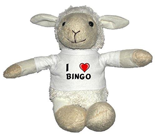 Weiß Schaf Plüschtier mit T-shirt mit Aufschrift Ich liebe Bingo (Vorname/Zuname/Spitzname)