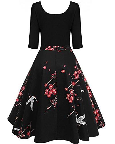 BIUBIU Damen 50s Vintage Rockabilly Kleid Blumenkleid Partykleider Cocktailkleider # Blume
