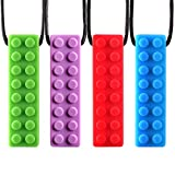 Mespoo Collar de masticación sensorial, Paquete de 4 Masticar Colgante Entrenamiento y Desarrollo Juguete agitar Collar