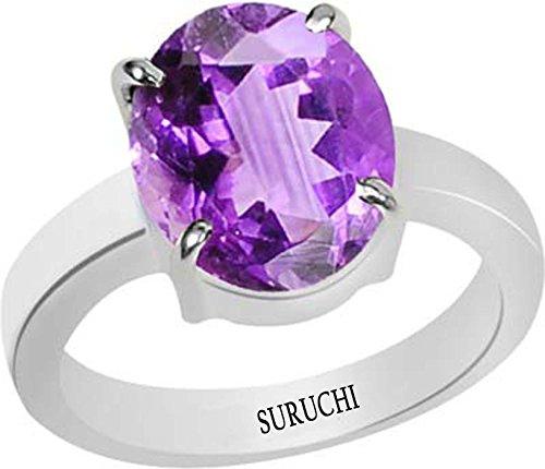 SURUCHI GEMS Natural Certified Amethyst (Kathela) Sterling Silver Ring 3.25 Ratti or 2.96 Carat for Men & Women-AZN432532
