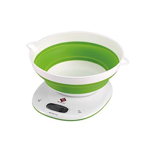 Digitale Küchenwaage mit Waag-Schale (Haushaltswaage, Messbereich bis 5 kg in 1 g-Schritten, Tara-Funktion, grün) Waagschale