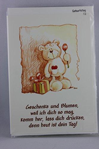 Nici - 65102 - Klappkarte, mit Umschlag, Geburtstag, Bär, Geschenke und Blumen, weil ich dich so mag, ...