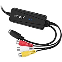 Analog Video Converter - USB Video/Audio Capture Grabber Device Compatible For Windows OS, macOS X (S-Video x 1 Female Port, RCA x 3 Phono Female Ports)