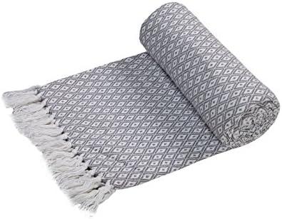 Super suave manta de algodón EHC grande cubre hasta 2-sofá o cama de matrimonio - gris