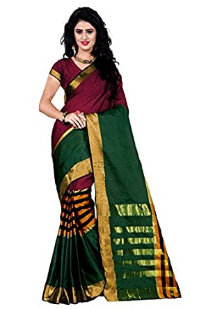 Trendz Women's Cotton Silk Saree With Blouse Piece (Tz_Vv_Multicolor)