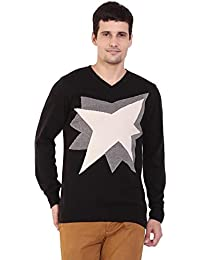 TAB91 Men's Cotton Rich Black V Neck Pullover