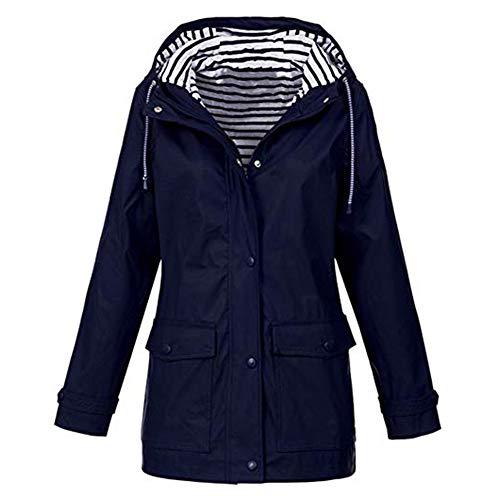 iHENGH Damen Frühling Herbst Mantel bequem Solide Regenjacke Outdoor Jacken Wasserdicht mit Kapuze Regenmantel Winddicht Parka Coat -