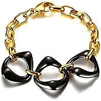 OMZBM Damen Armband Vergoldet Edelstahl Kreativ Schwarz Und Weiß Geometrisch Keramik Verstellbares Armband