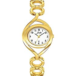 Joalia 631841-Ladies Watch-Analogue Quartz-White Dial-Golden Metal Strap