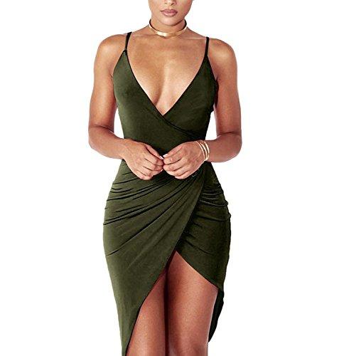DRESHOW Damen Sexy Deep V-Ausschnitt àrmelloses Spaghetti-Armband Bodycon Wrap Kleid Vorne...