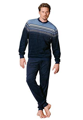 hajo Herren-Schlafanzug Frottee dunkelblau Größe 52/54