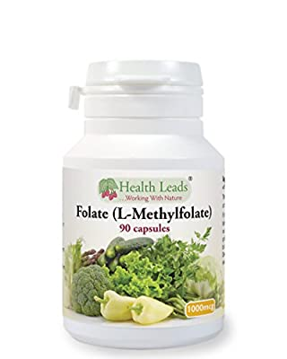 Folate (L-Methylfolate - a Natural form of Folic Acid) 1000mcg x 90 caps from Health Leads UK