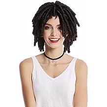 WIG ME UP ® - DH1110-ZA1 Peluca mujer hombre Carnaval Halloween rizos tirabuzónes afro Caribe cortos voluminosa Rasta Dreads negro