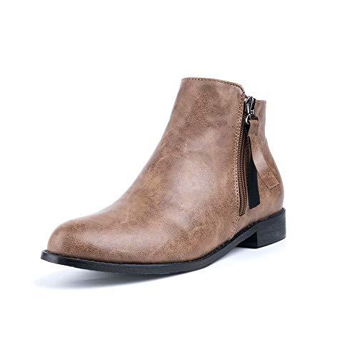 Botines Mujer Planos Tacon PU Cuero Botas Chelsea Ancho Ante Piel Casual Zapatos Invierno Moda Ankle...