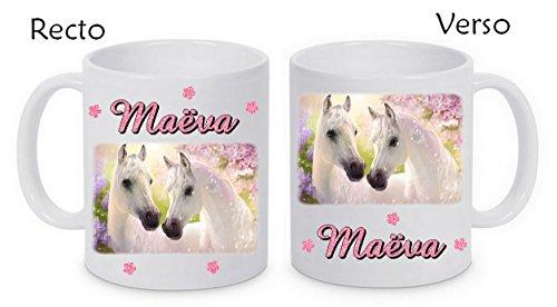 Mug céramique chevaux personnalisé avec prénom