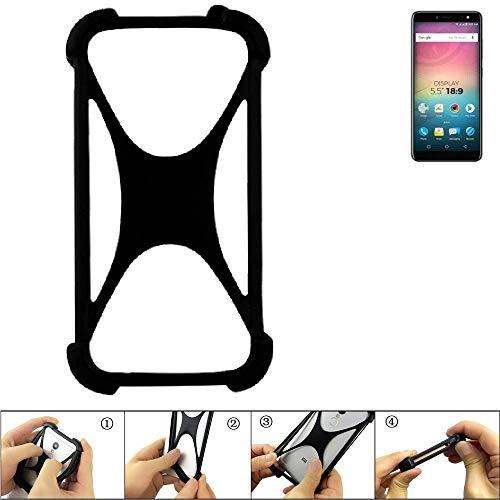 K-S-Trade Handyhülle für Allview V3 Viper Schutz Hülle Silikon Bumper Cover Case Silikoncase TPU Softcase Schutzhülle Smartphone Stoßschutz, schwarz (1x)