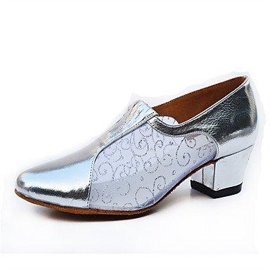 Silence @ Chaussures de danse pour femme Samba Cuir/paillettes scintillantes Chunky Talon Argenté/gris/doré Silver