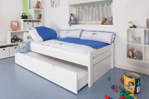 """Kinderbett / Jugendbett """"Easy Möbel"""" K1/2h inkl. 2. Liegeplatz und 2 Abdeckblenden, 90 x 200 cm Buche Vollholz massiv weiß lackiert"""