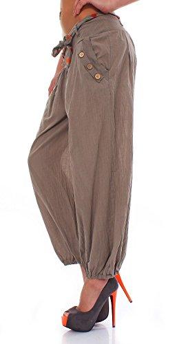 ZARMEXX Haremshose Pumphose mit Gürtel Pluderhose Uni-Farben Ballonhose Aladinhose Harem Hose Sommerhose Yoga One-Size beige-dunkel
