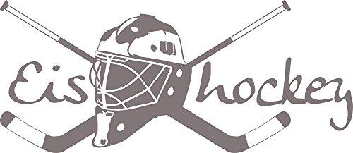 GRAZDesign Wandsticker Wanddeko Jugendliche Junge Eishockey - Geschenkidee Geburtstag Sport Hockey Wappen - Wandtattoo Schläger mit Helm / 68x30cm / 660164_30_090