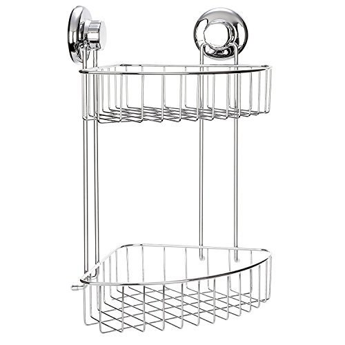 HASKO accessories Hasko Zubehör-Eck Dusche Caddy mit Saugnapf-304Edelstahl 2-stufig Ecke Korb für Badezimmer Aufbewahrung-rostfrei (chrom), chrome, 2-Tier Corner Basket -