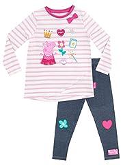 Idea Regalo - Peppa Pig Maglietta e Leggings per ragazze Multicolore - 3 a 4 Anni