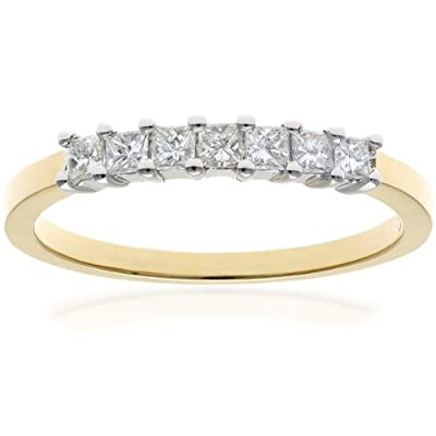 Naava J/I Certified Princess Cut Diamonds 18 ct Yellow Gold Eternity Ring