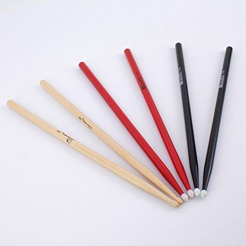 drumsticks 3 Paar Ahorn Drumsticks 5A Set in verschiedenen Farben - Drumstick Set mit Ahorn Stöcke / 5 A Schlagzeugsticks verschieden farbig - klangbeisser