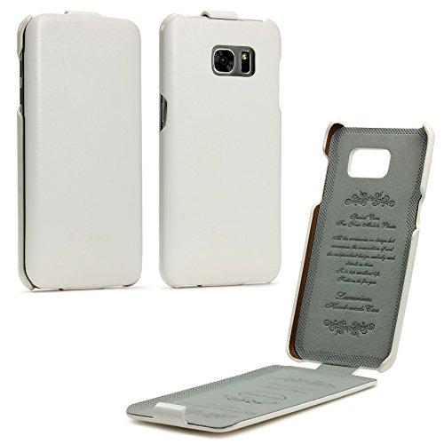 Urcover® Flip Cover kompatibel mit Samsung Galaxy S7 Edge Handy Schutz-Hülle Weiß | Fashion Klapp Tasche | Smartphone Zubehör Case