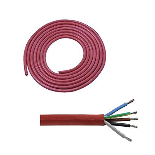Doubleyou G&B® Silikonkabel SIHF-J 5 x 2,5 mm² für Elektrosaunaöfen bis 9 KW (Meterware) Sauna Saunakabel (5m)