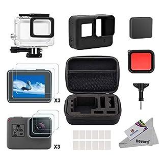 Deyard 25 in 1 Zubehör-Kit für GoPro Hero 7(Nur Schwarz) Hero 2018 Hero 6 Hero 5 mit Stoßfestes kleines Koffer-Bundle