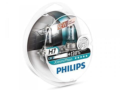 Philips 12972XVS2 Lot de 2 ampoules de phare X-treme Vision H7 +100% [Pour une durée limitée, le produit performant à +130% (2 bulbes)]