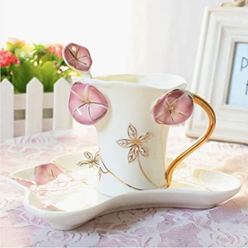Tazza da tè in porcellana smaltata con piattino tazza da caffè piattino regalo, bone china cup san valentino regalo, c