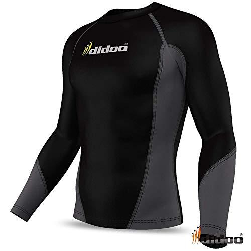 Didoo Homme Thermique Complet Manches Base Compression Couche Haut Course Tight Fit Entraînement Fitness Body Armour Froid Vêtement Long Chemises pour